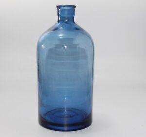antike-grosse-Blauglas-Glasflasche-mundgeblasen-ca-1900-J431