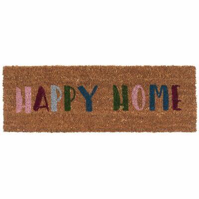 Kokos Fußmatte Happy Home schmales Format Fußabstreifer Fußabtreter Türmatte