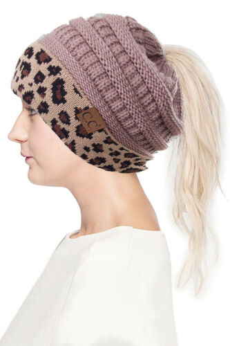 Jinscloset CC Women Solid Color with Leopard Cuff Ponytail Messy Bun Beanie