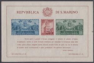 San Marino Sc 239 MNH. 1945 Government Palace Reconstruction, imperf Souv Sheet
