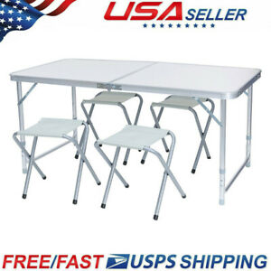 Details About Folding Camping Table Adjule Portable Picnic Desk With 4 Chairs