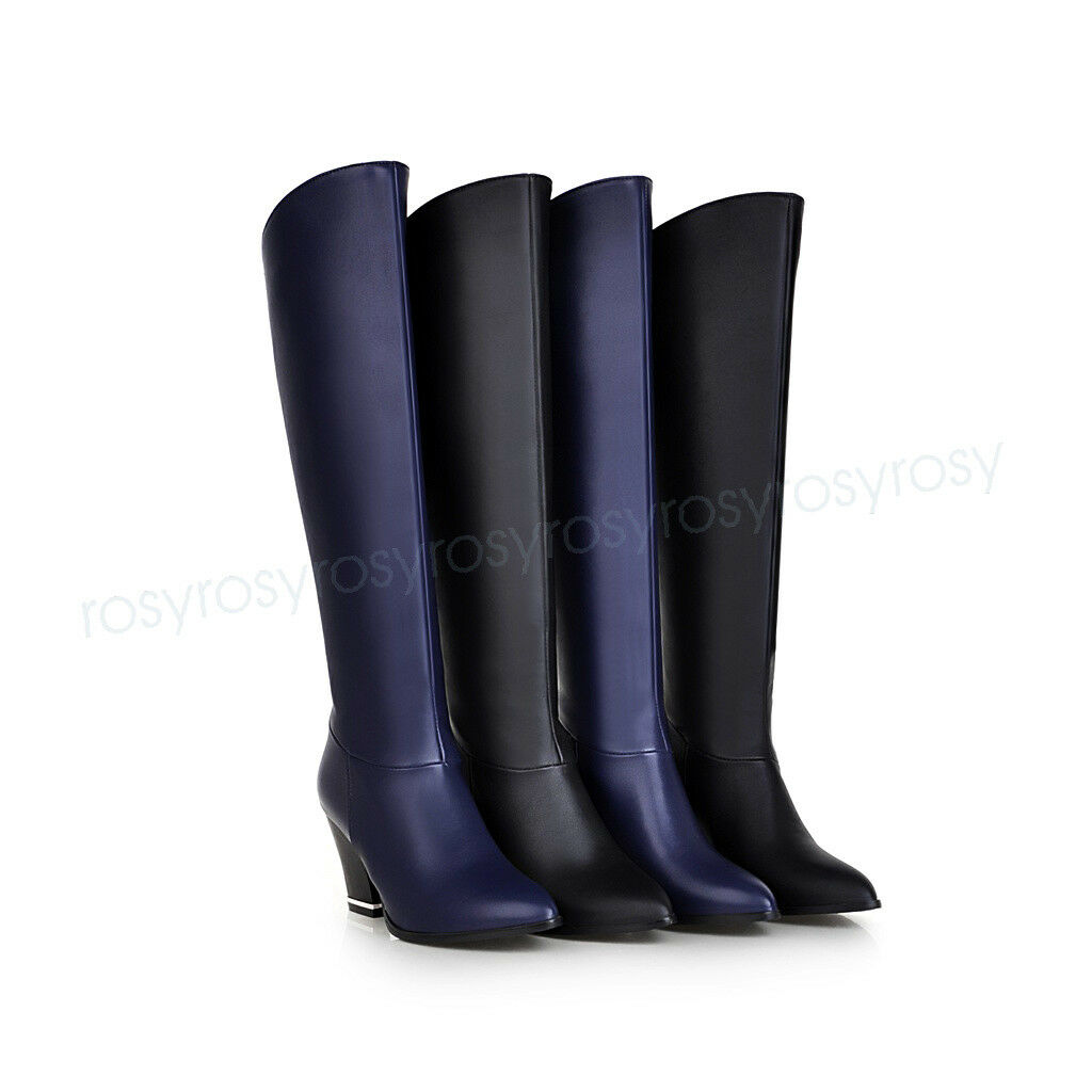 Cute Womens High Heel Knee High Boots shoes Pointy Toe Popular US Size BDXS1270