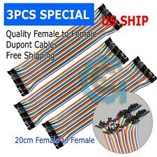 3pcs 40pc Dupont Wire Jumper Cable 1p 1p 254mm Female To Female Length 20cm