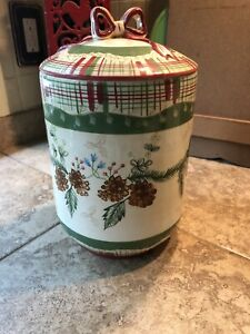 Christmas-Pinecone-amp-Plaid-Cookie-Jar-By-Harry-And-David-NOS