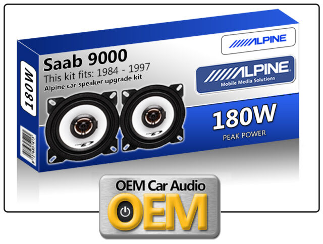 "Saab 9000 Front Dash speakers Alpine 4"" 10cm car speaker kit 180W Max Power"