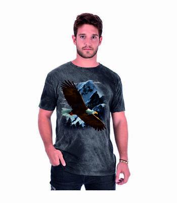 T Shirt Batik Black Adler Tier & Naturmotiv Modell Eagle Over The Mountain HöChste Bequemlichkeit