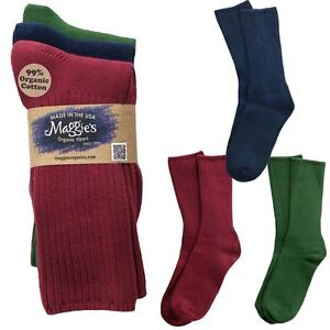 Details about Maggie's Organic Socks Cotton Crew Tri-Pack Made in USA  Choice of Colors & Sizes