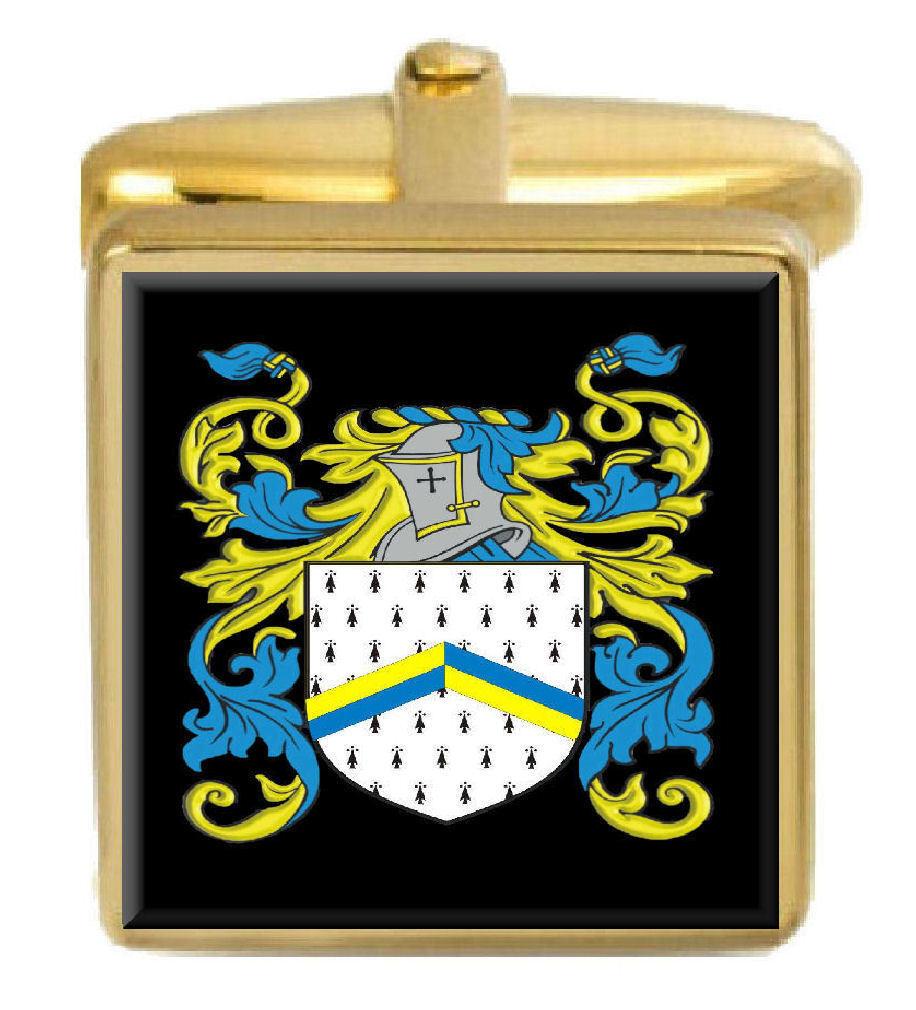Remarkable Bleset England Familie Crest Familienname Wappen Gold Manschetten Graviert Kiste