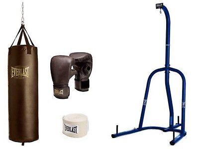 Everlast Vintage 100 Lb Heavy Bag Kit W Blue Single Station Stand Value Bundle Ebay