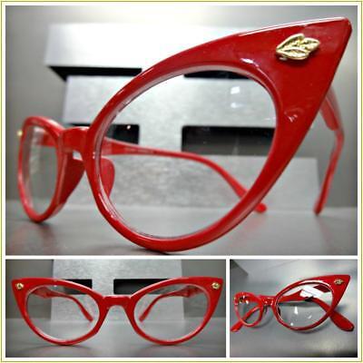 VINTAGE 50s RETRO CAT EYE Style Clear Lens EYE GLASSES Red White Polka Dot Frame