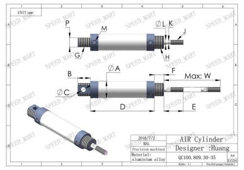 Cilindro De Varilla MAL25x75-CA Mini Aire Neumático con ictus interior de diámetro 25mm 75mm