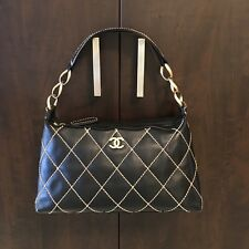 AUTHENTIC CHANEL Wild Stitch Quilted Black Leather Shoulder Bag with chain