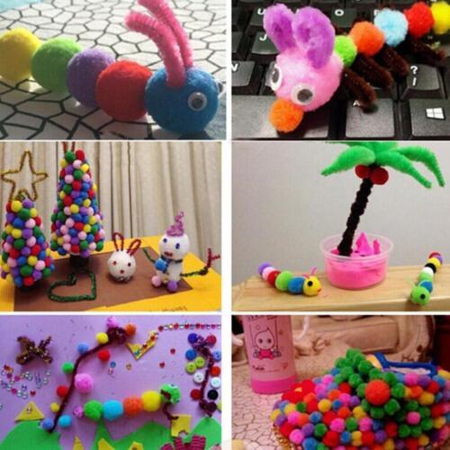 Hot 100-1000 pcs 8mm Fluffy Pom Poms Mini Craft Small Pompom Ball Red