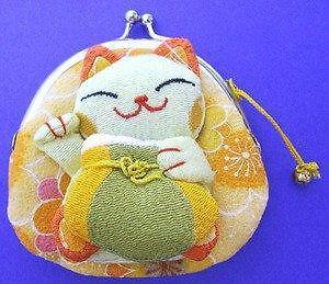 Set of 4 JapanBargain Japanese Maneki Neko Lucky Cat Coin Purse Bag,White//Yellow