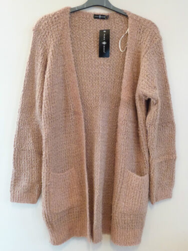 Pura Moda Long Sleeve Soft Open Knitted Cardigan Jacket Size S-L BNWT Beige