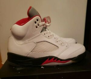 new product 45ab9 76a9a Image is loading Air-Jordan-5-Retro-White-Fire-Red-Black-
