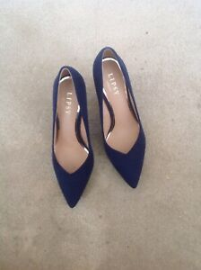 Navy Blue Suede Look Court Shoes With 3