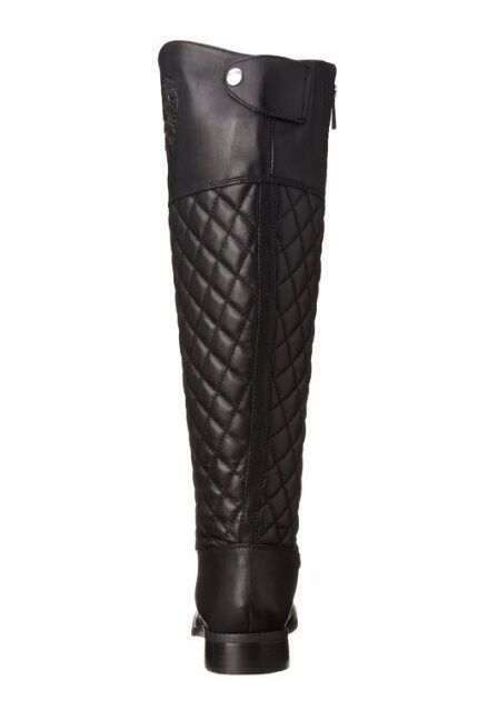 Vince Camuto Women's Faya Leather Black Quilted Leather Faya Riding Knee High Boots 5.5 M 6122fc
