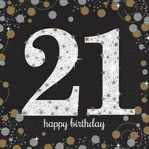21e-Noir-Brillant-Celebration-33cm-Serviettes-En-Papier-Pour-Fete-1-96pk
