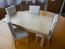 MODERN LIGHT WOOD DINNING TABLE AND 4 FAUX LEATHER CHAIRS FOR A DOLLS HOUSE