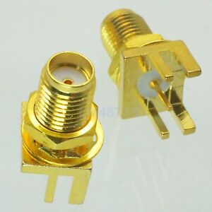5pcs-Connector-SMA-female-jack-bulkhead-solder-edge-1-6mm-PCB-clip-mount-9-0mm