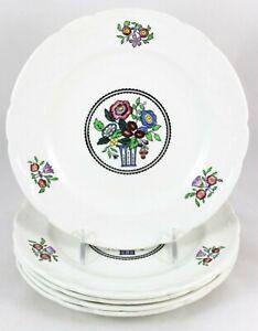 SET 5 DESSERT PLATES MINTON CHINA ROMFORD C4829 EMBOSSED SCALLOPED FLOWERS WHITE