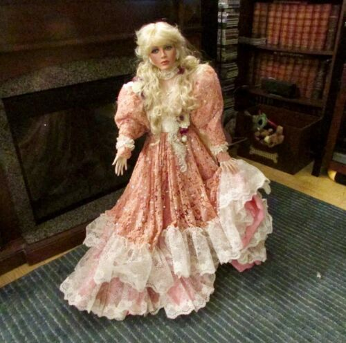 "38"" Tall RUSTIE DOLL 02382000 Pink W White Edge Trim Gown Dress"