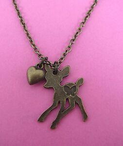 Vintage-Look-Bronze-Tone-Bambi-Deer-Heart-Necklace-Brand-New-Festival-Kitsch