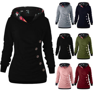 43a56a9d4d1 Details about Womens Hoodies Casual Sweatshirt Winter Ladies Button Jumper  Coat Pullover 2019