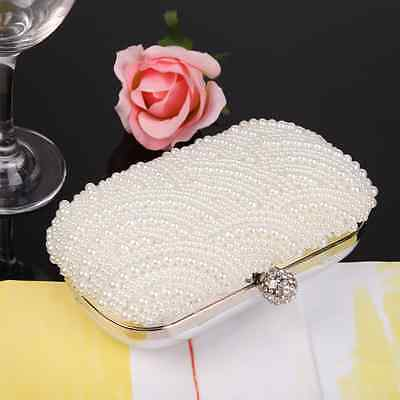 Handmade Pearl Clutch Evening Bag Handbag Purse Bridal Wedding Party Pouch White