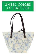 United Colors of Benetton Saffron Shopping Bag Weiß/Blau, Henkeltasche, NEU