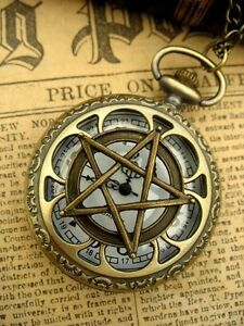 Antique-Pocket-Watch-Pentagram-Wicca-Necklace-Steampunk-Goth-Bronze-Fantasy
