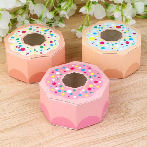 10 × Hexagone candy box Donut chocolat Boîte Cadeau Enfant Anniversaire Donut jour faveur