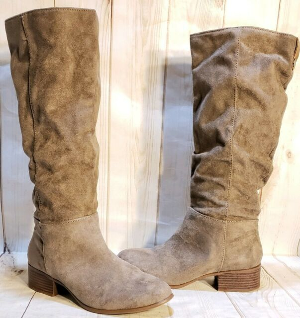 Merona Knee High Gray Faux Suede Boots