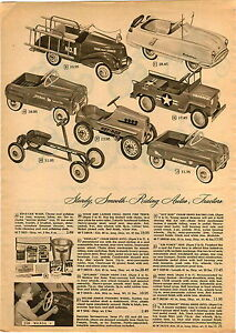 1955 Paper Ad 2 Pg Toy Pedal Car Kidillac Hot Rod