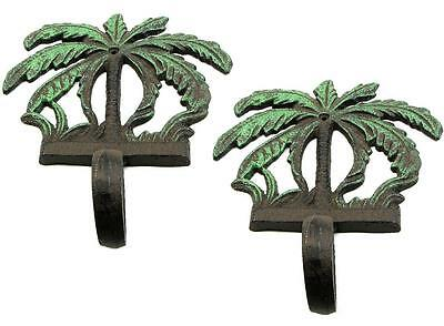 2 Rustic Cast Iron Palm Tree Design Tropics Ocean Wall Art