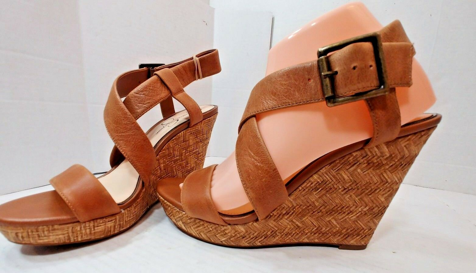 Jessica Simpson Joilet Basketweave Wedge Brown Leather Sandals shoes Womens 9M