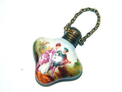 Antique Miniature PERFUME OILS BOTTLE Handpainted Porcelain ca.1850s France