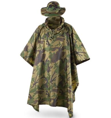 Fox Tactical Ripstop Military Rain Poncho e Boonie Cap Set