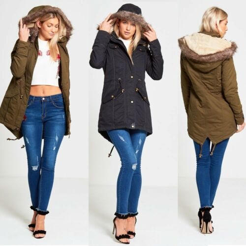 NEW WOMENS LADIES BRAVE SOUL MILITARY LINED FUR HOODED PARKA JACKET WINTER COAT