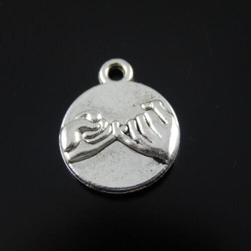 50 Stück Antiqued Silber Versprechen Charms Dangles Anhänger 14x14x2mm 35358