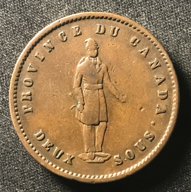 Canada 1852 One Penny Token Deux Sous PC-4 / Breton 528 / J-082