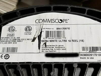 Commscope 10GN4 Ultra 10 WebTrak Cat6A U//UTP Riser Network Cable White //100ft