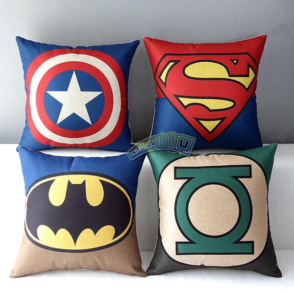 New Cotton Linen Justice League Hero Throw Pillow Case Cushion Cover Decorative