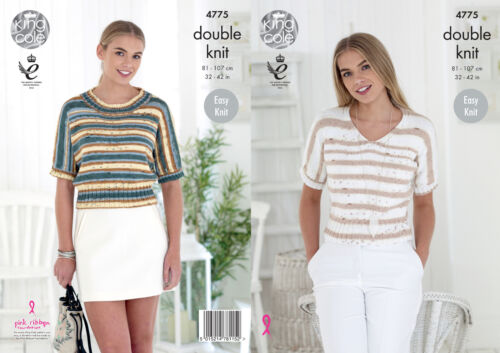 King Cole Ladies Double Knitting Pattern Womens Easy Knit Round V Neck Tops 4775