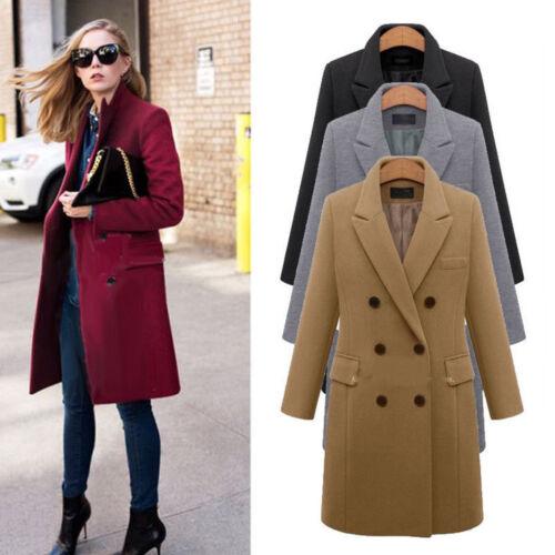 manteau long de laine de de des de d'hiver Manteau femmes revers laine OCqAAwzx