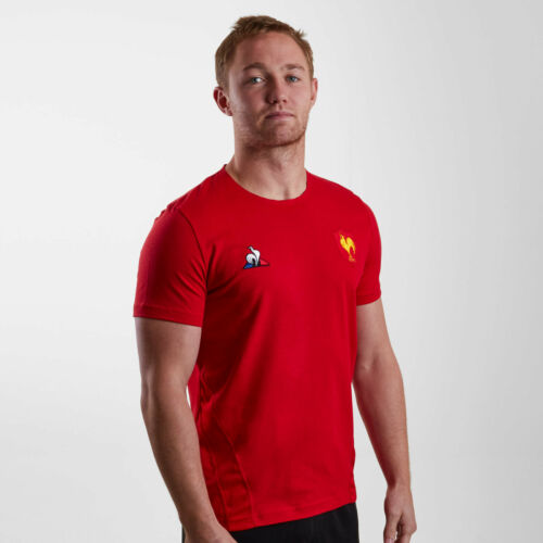 Le Coq Sportif Mens France 2018//19 Players Rugby Training T-Shirt Tee Top Red