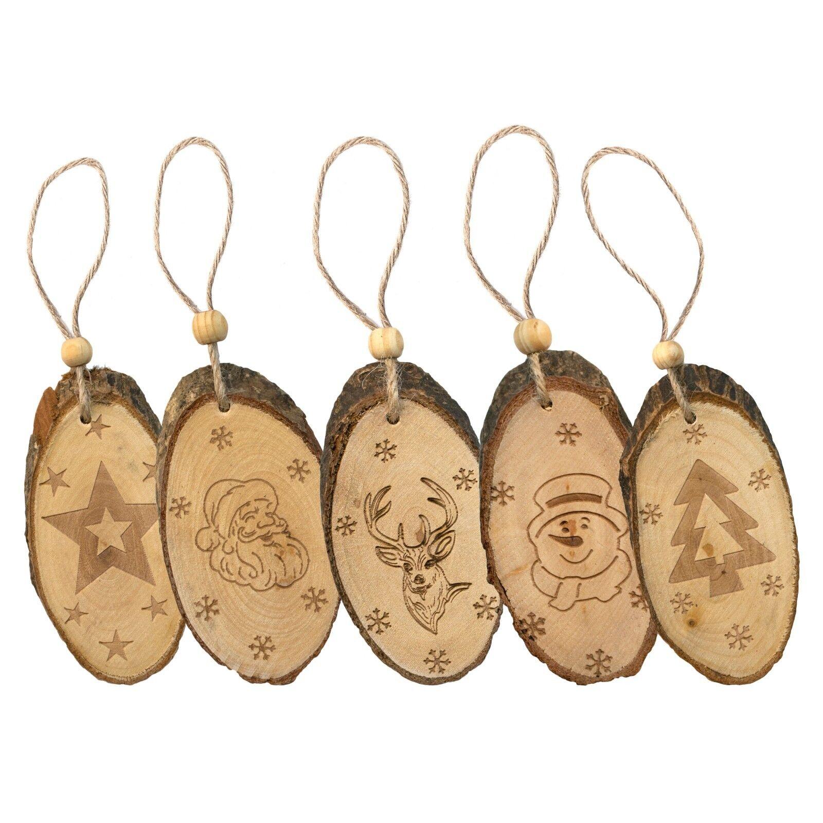 Wooden Wood Log Slice Tree Cutting Christmas Tree Pendants Ornaments Decorations