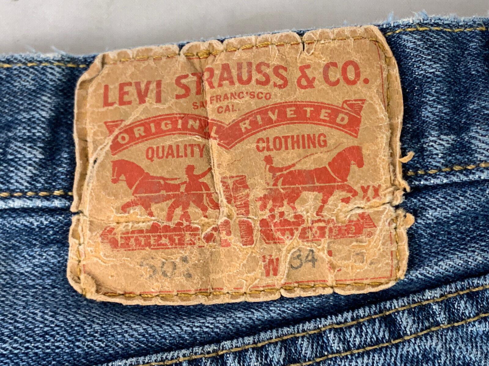Jeans LEVIS 501 Label Size 34x32 Distressed Blue … - image 4