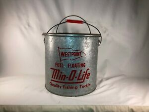 Vintage-Westpoint-Full-Floating-Min-O-Life-Bait-Minnow-Bucket-Fishing-Galv-Pail